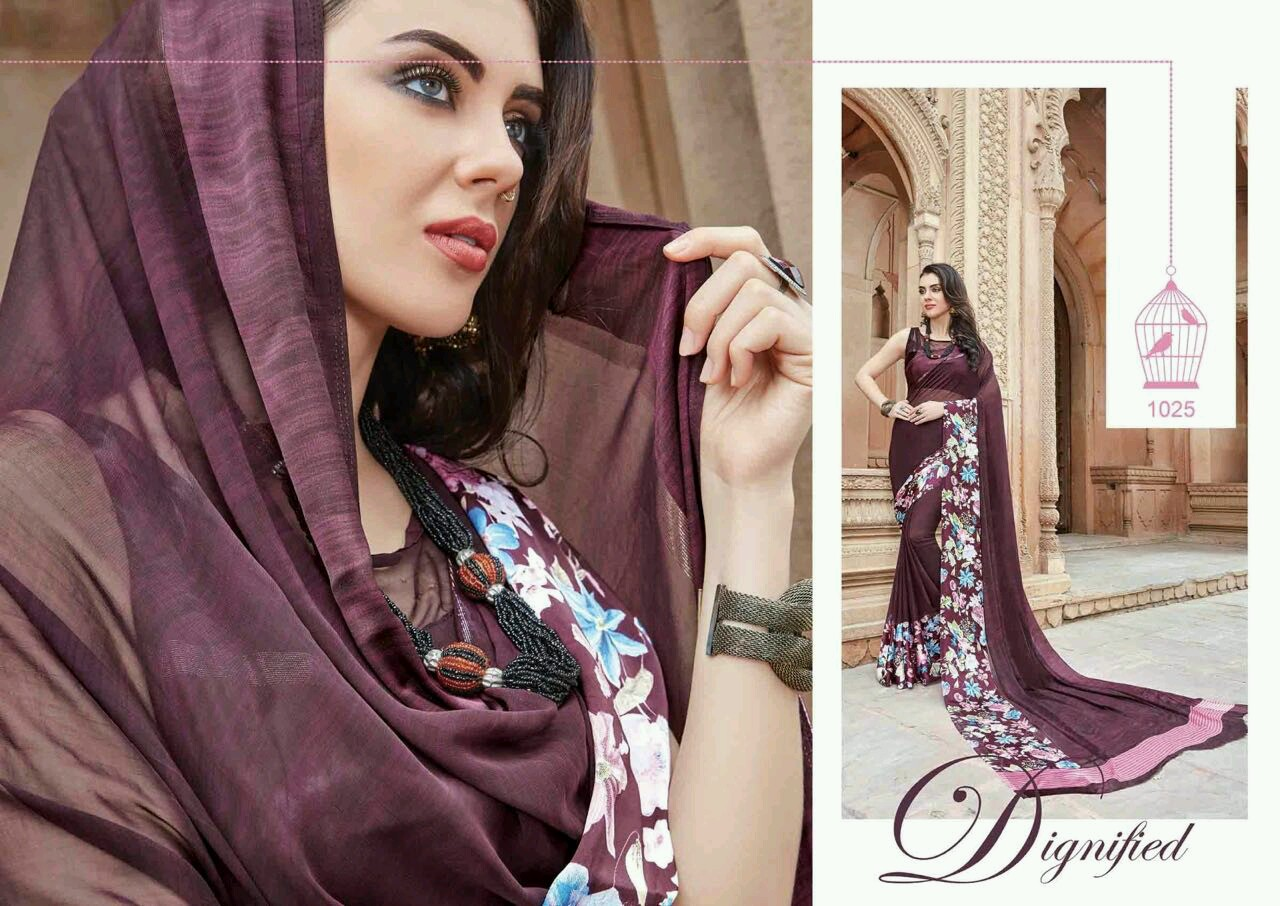 Nysa – Georgette & Satin Printed Saree Wholesale