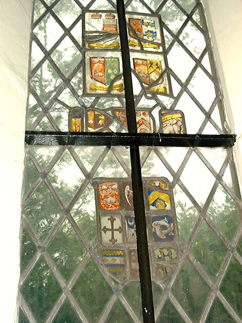Photograph of One of two windows in St Catherine's Chapel just above the tomb with several references to Coningsby Image by David Brewer released under Creative Commons BY-NC-SA 4.0