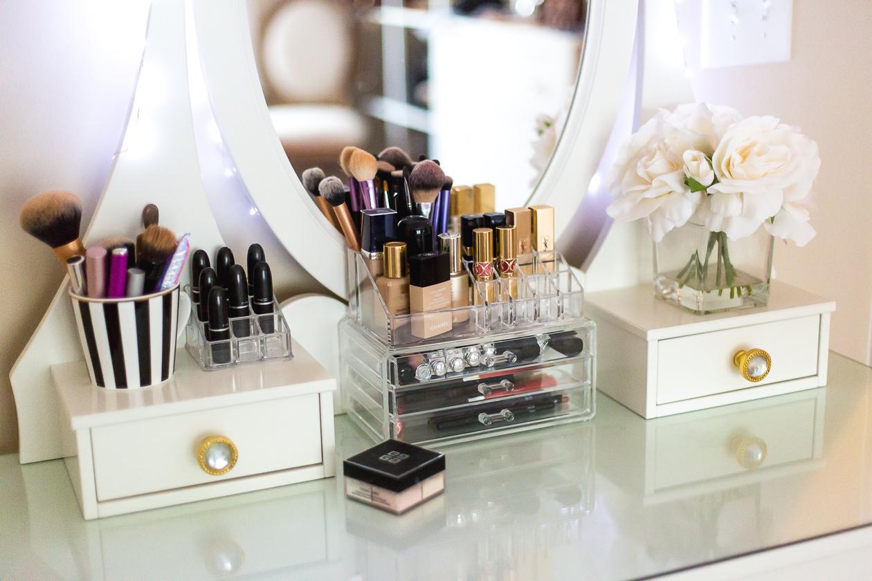 vanity, beauty space, makeup lover, prada marfa, ikea vanity