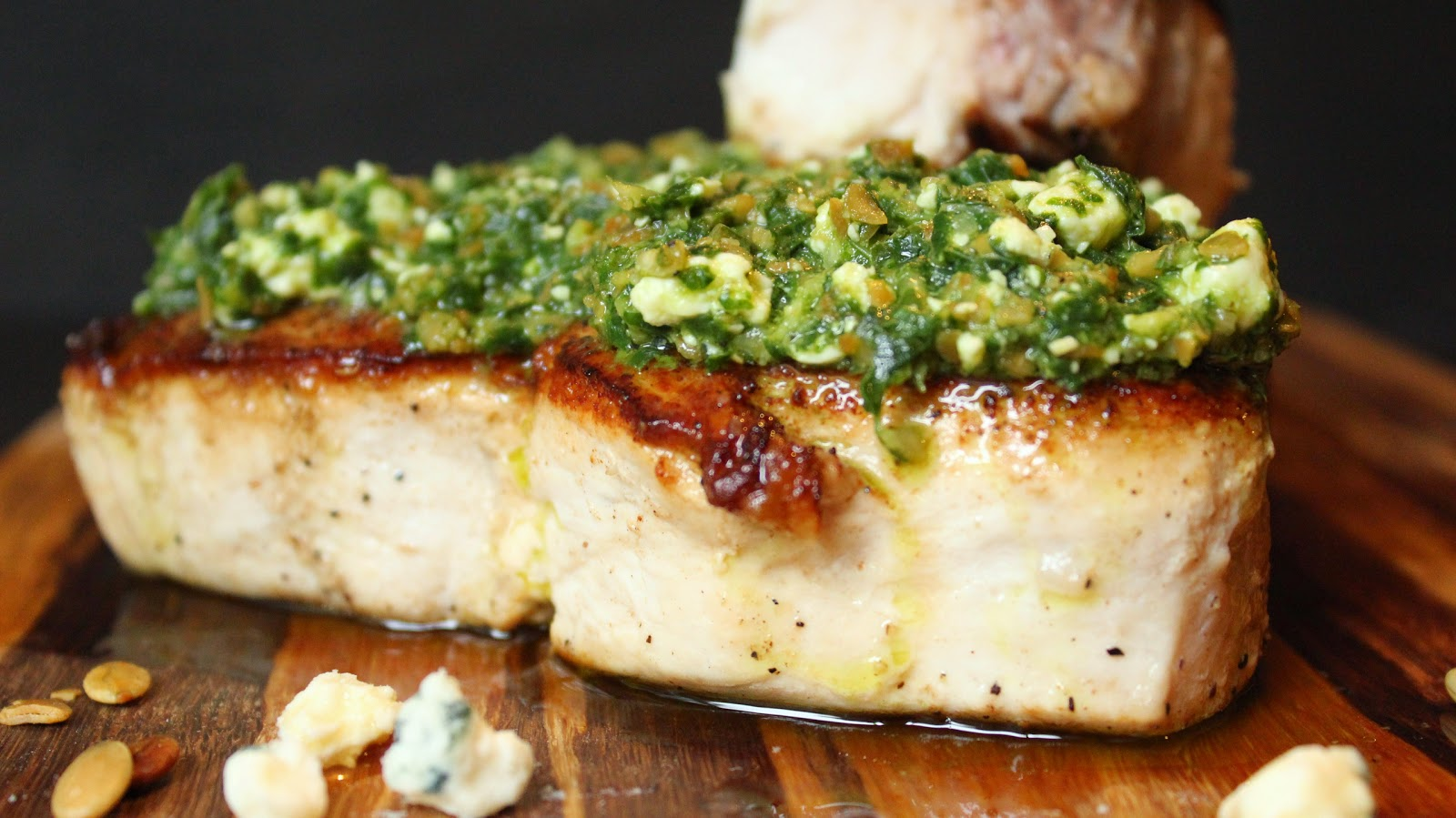Swordfish with Blue Pesto