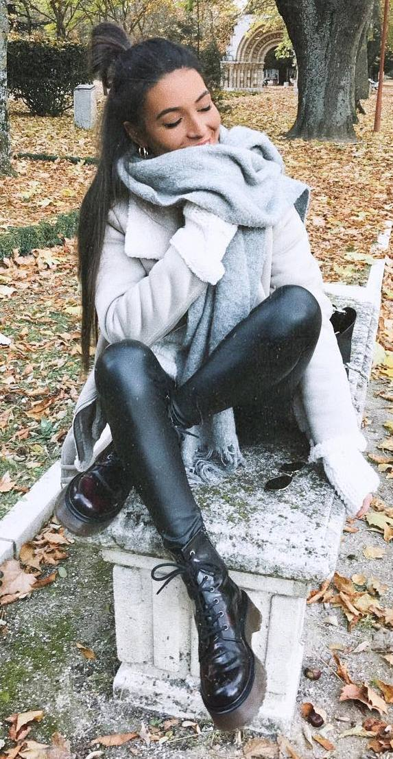 how to wear leather leggings : grey coat + boots + scarf