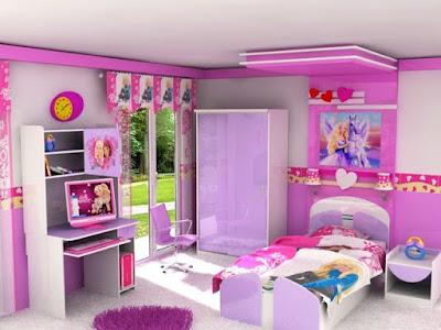 gambar dekorasi kamar tidur anak perempuan berbagai warna