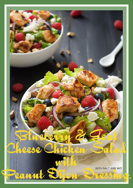 Blueberry & Goat Cheese Chicken Salad with Peanut Dijon Dressing.