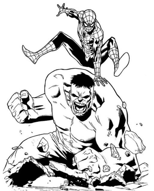 desenho para pintar homem aranha e hulk