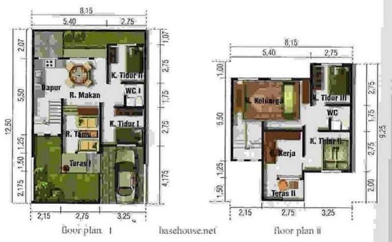 denah rumah modern type 100 1 2 lantai yg terkini