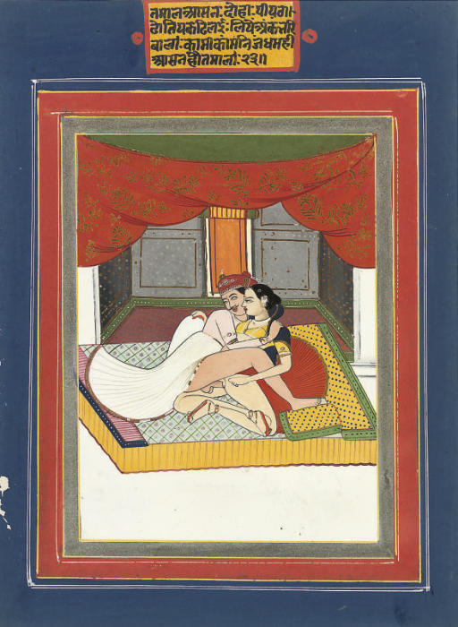 Erotic Scene - Rajput Painting, Jaipur, Rajasthan c1820
