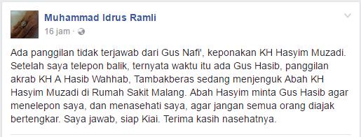 Nasehat KH Hasyim Muzadi kepada Ustad Idrus Ramli: Jangan Bertengkar