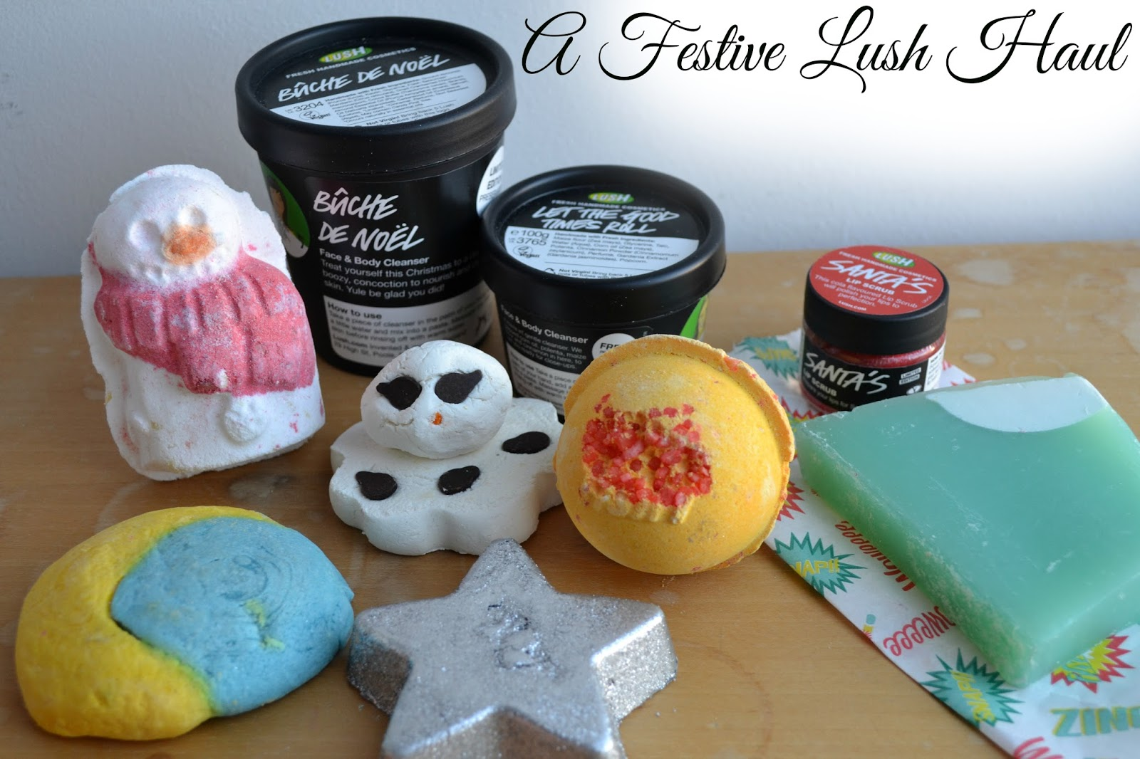 A group of lush products from the 2013 christmas collection