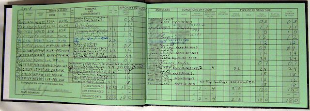 The Student Pilot Log The First Page