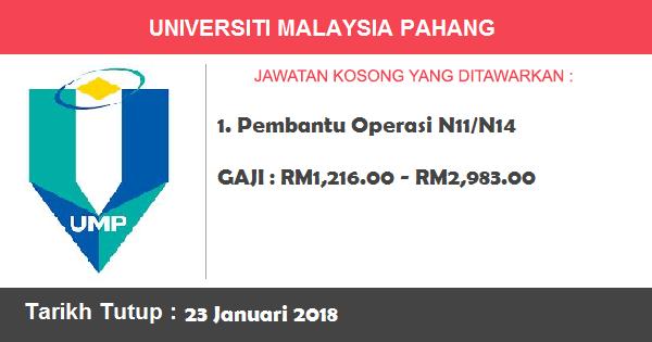 Jawatan Kosong di Universiti Malaysia Pahang (UMP)