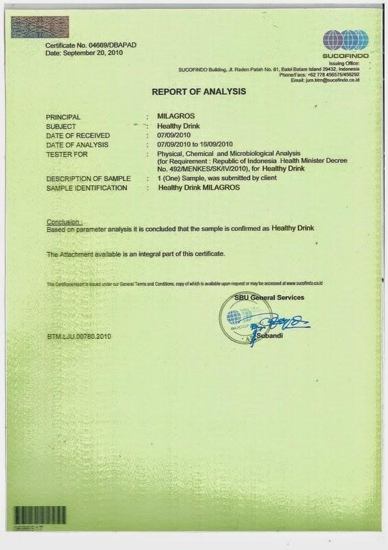 Sertifikasi Milagros | Air Milagros Bekasi | WhatsApp 081327570786