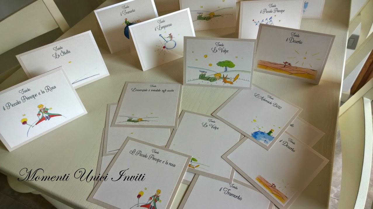 111 Segnatavolo e cards tableau Piccolo PrincipeTema Piccolo Principe