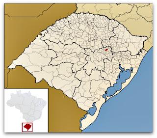 Cidade de Nova Bréscia, no Mapa do Rio Grande do Sul