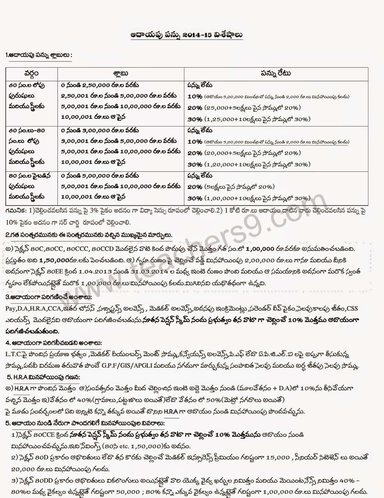 INCOME TAX DETAILS IN TELUGU