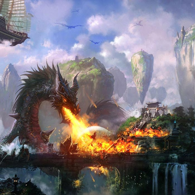 Burning City Dragon Wallpaper Engine