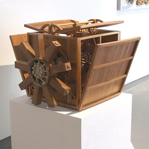 Tinuku Rudi Hendriatno presents sculpture works of wood machines in group exhibition at Edwin's Gallery Jakarta