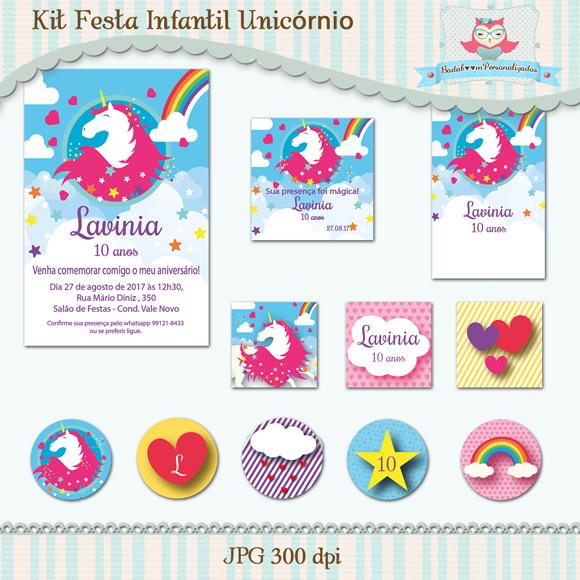 kit de artes digitais para impressão festa infantil unicórnio