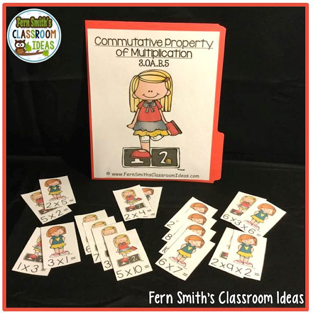 Fern Smith's Classroom Ideas Commutative Property of Multiplication - Quick and Easy To Prep Center and Printables at TeacherspayTeachers.