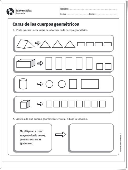 """""""Caras de los cuerpos geométricos"""" (Ficha de Matemáticas de Primaria)"""