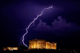 Thunder and lightning over the Acropolis.Athens, Greece