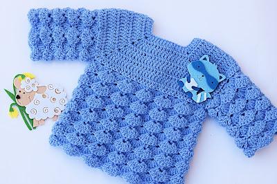 7 - Imagen chambrita de abanicos en relieve a crochet. Majovel crochet