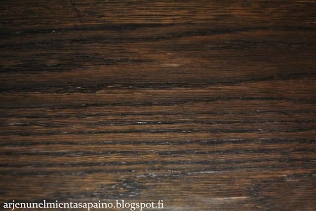 ruokapöytä, ruskea, tammi, petsattu