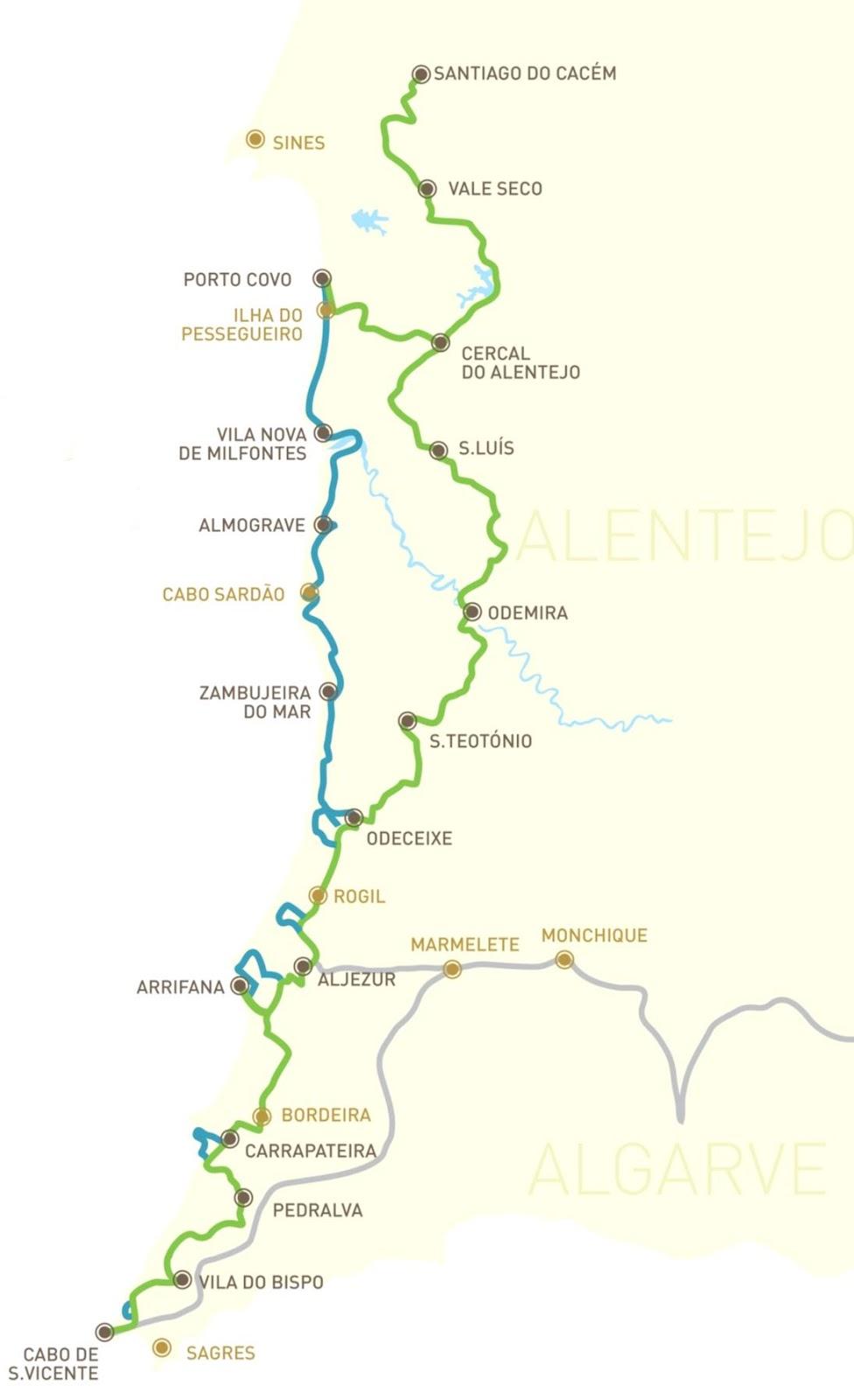 mapa da rota vicentina A Rota Vicentina e a Via Algarviana estão a chegar a Aljezur  mapa da rota vicentina