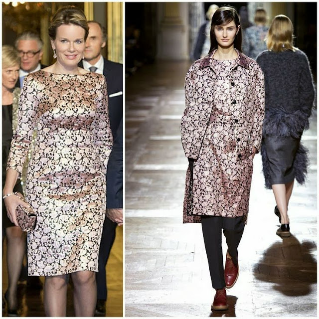Queen Mathilde in Dries Van Noten (Fall 2013)