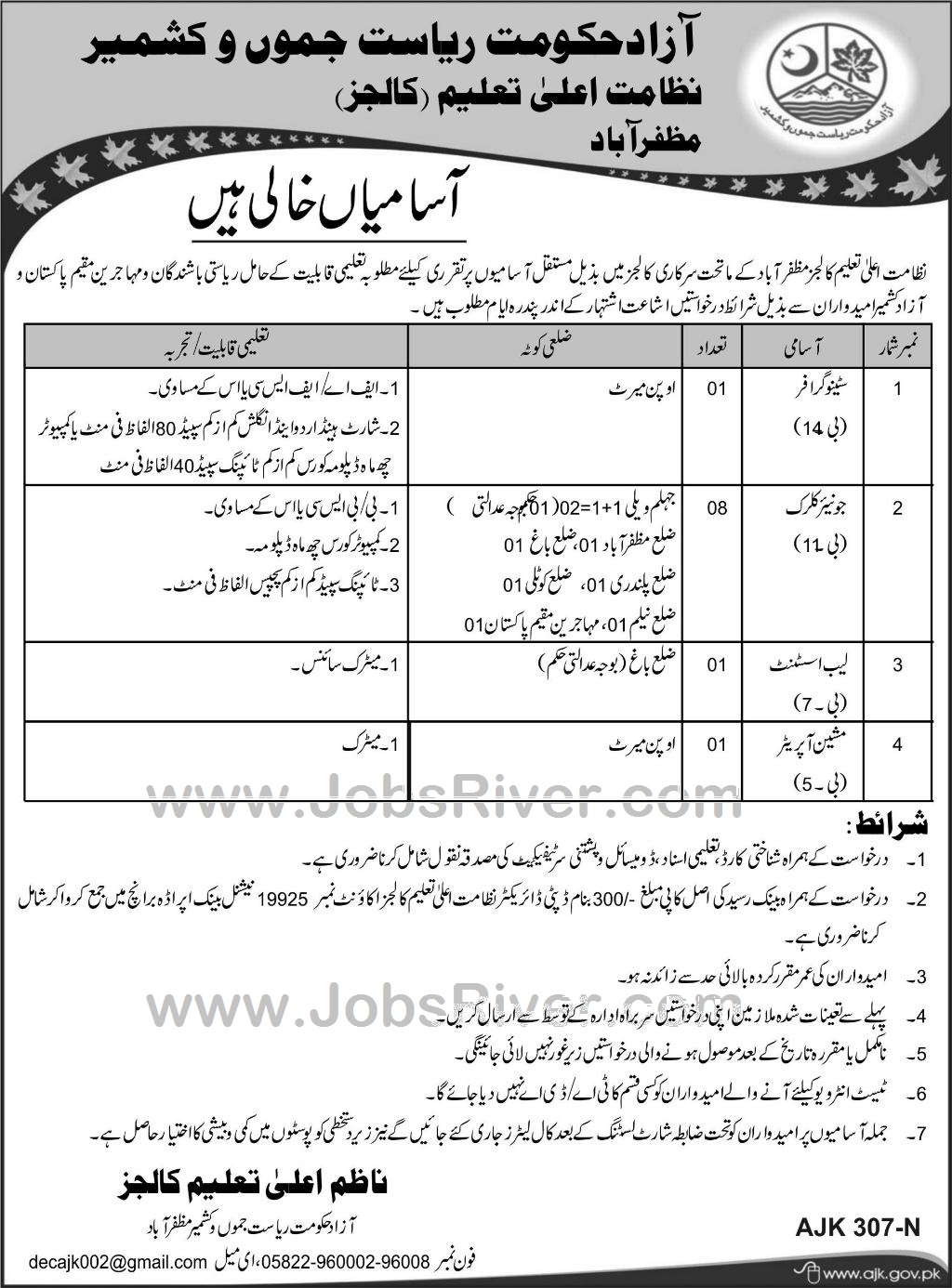 Jobs In Education Department Muzaffarabad January 2018