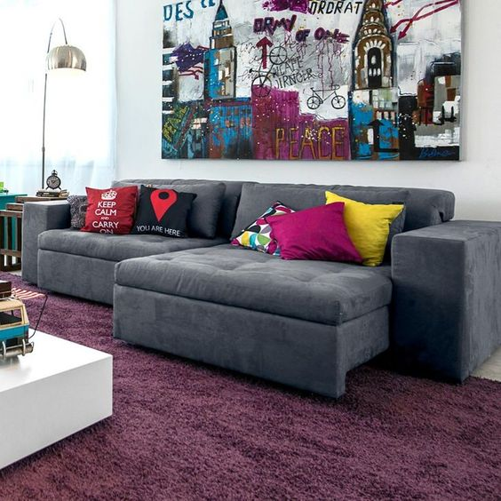 15 dicas e 51 inspira es para decorar a parede atr s do sof reciclar e decorar blog de - Telas para sofas online ...