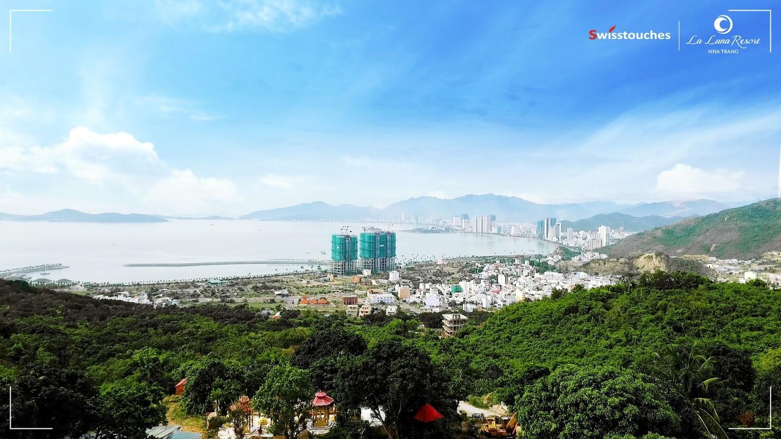 Hình ảnh dự án La Luna Nha Trang nhìn từ núi Cô Tiên