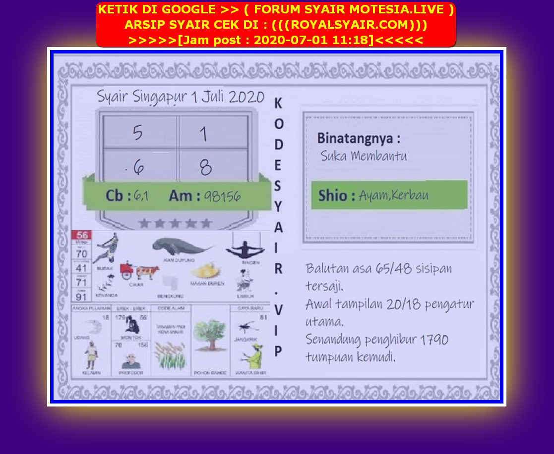 Kode syair Singapore Rabu 1 Juli 2020 133