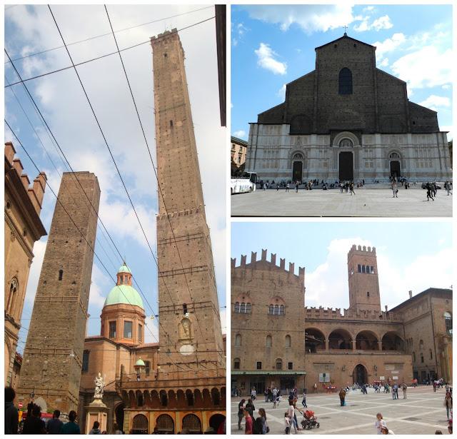 Atrações principais de Bologna - Torres Asinelli e Garisenda, Catedral e Palazzo Re Enzo na região da Piazza Maggiore