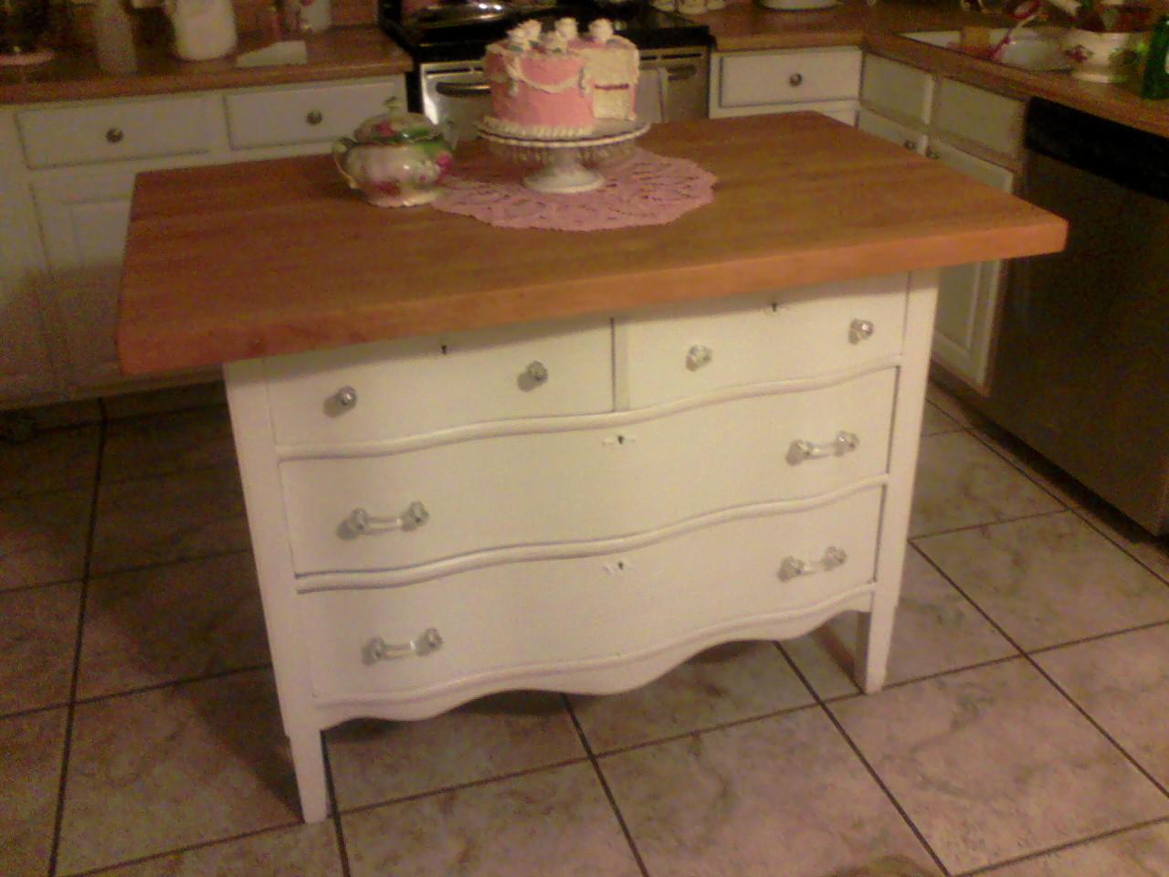Turn A Dresser Into A Kitchen Island: Shabby Rose Decor