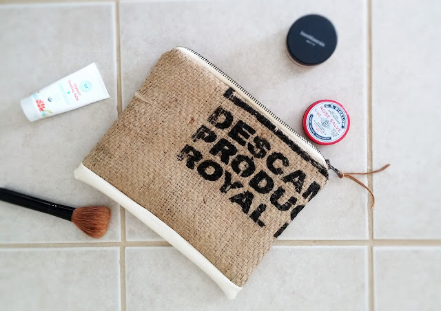 Burlap Zipper Pouch by Lina and Vi