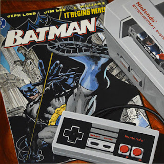 photorealist painting of vintage batman comic and nintendo entertainment system with punchout video game