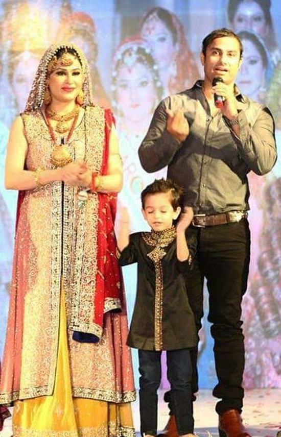 Humaira Arshad and Ahmed Butt with their son