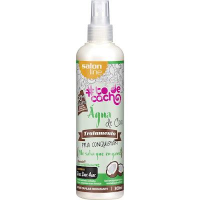 embalagem branca com produto para cabelos agua de coco salon line lu tudo sobre tudo