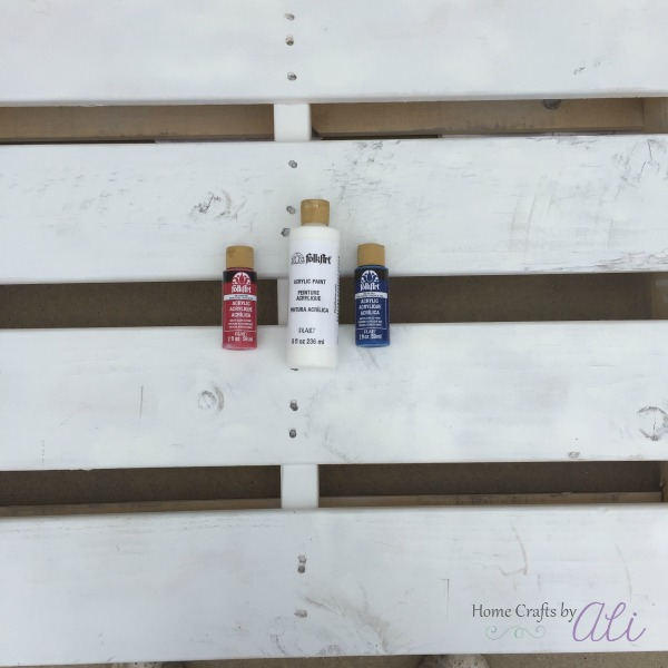 red white and blue paint used for pallet project