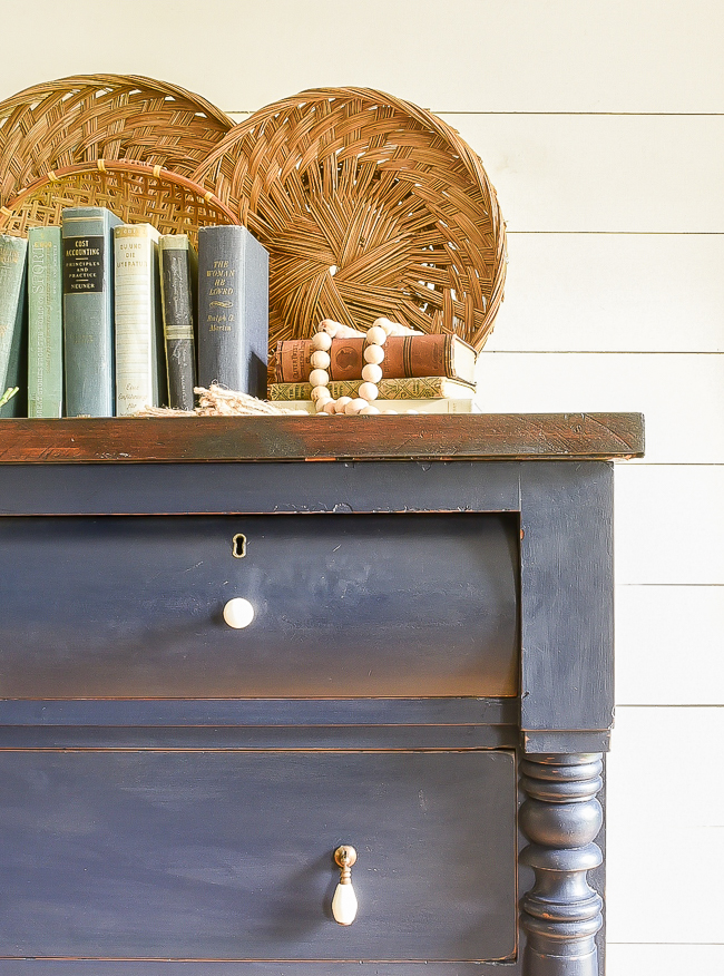 Coastal blue painted empire dresser with stained top