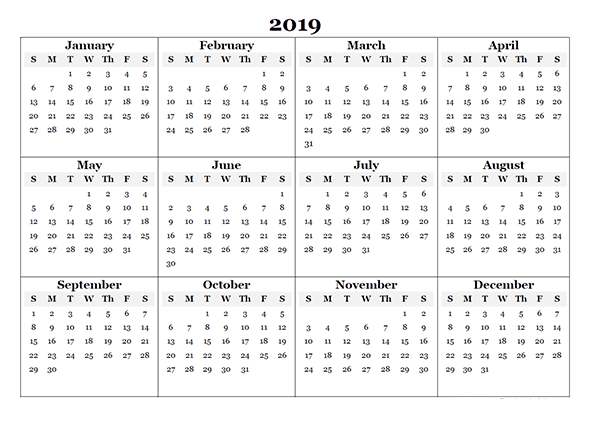2019 Free Blank Printable Calendar