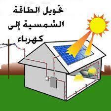 رسم توضيحي لكيفية تحويل الطاقة الشمسية لطاقة كهربائية