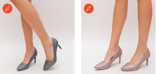 Pantofi moderni ieftini eleganti cu toc mic gri, maro din gliter