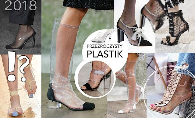 Modne buty wiosna przezroczyste plastikowe