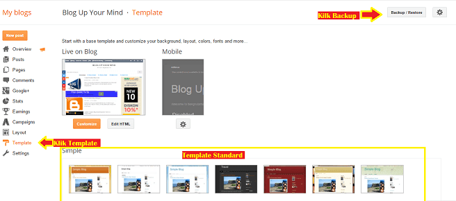 Mengganti Blog Template