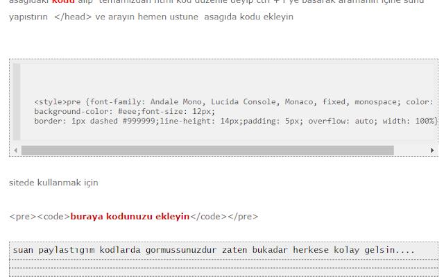 bloggerda kod eklemek
