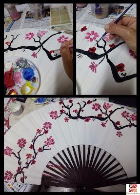 abanico oriental pintado a mano
