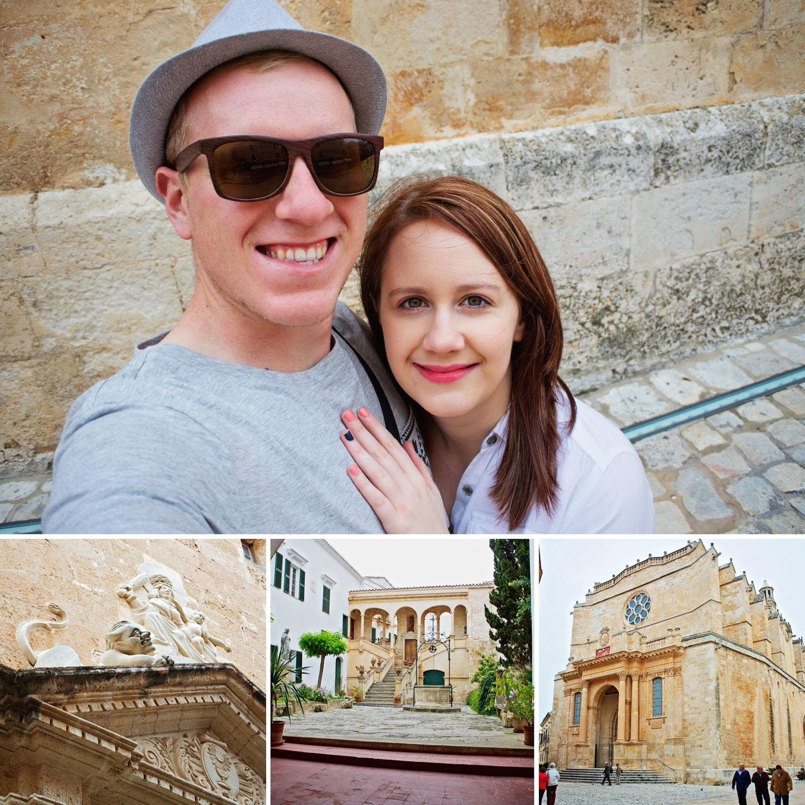A montage of photos from the old town in Menorca