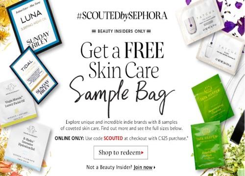 Sephora Free Skincare Sample Bag