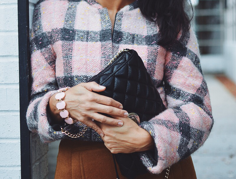 Pink plaid street style